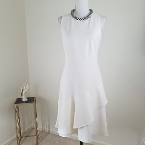 Ann Taylor~Sz 10~White Fit-Flare Fully Lined Dress
